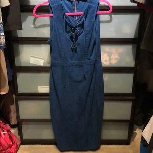 Suede blue dress